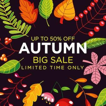 Cartel de venta otoño con marco de hojas
