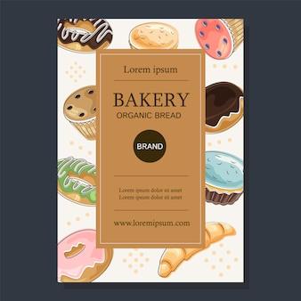 Cartel de venta de panadería con pasteles.