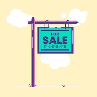 Cartel de venta de patio de diseño plano
