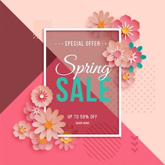 Cartel de venta de primavera con flores de papel.