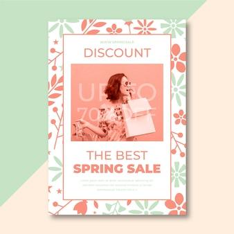 Cartel de venta de primavera con foto