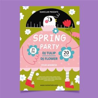 Cartel de venta de primavera plantilla dibujada a mano