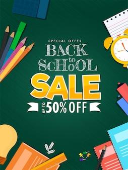Cartel de venta de regreso a la escuela y elementos de suministros educativos decorados sobre fondo verde.