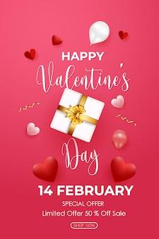 Cartel de venta de san valentín con caja de regalo, corazones y globos sobre fondo rosa