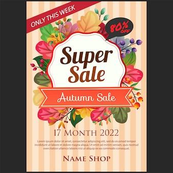 Cartel de venta super otoño con ilustración de color hojas de otoño
