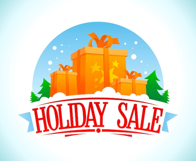 Cartel de venta de vacaciones, ilustración de estilo vintage con cajas de regalo