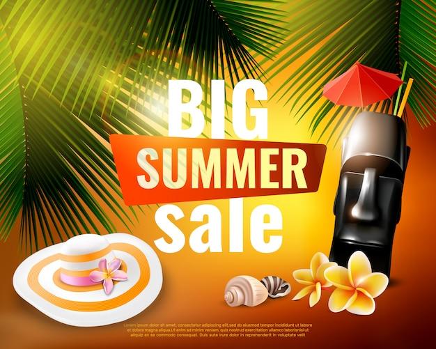 Cartel de venta de verano hawaiano