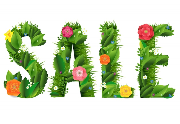 Cartel de venta de verano y hierba y flores fondo blanco.
