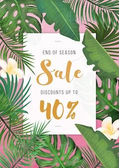 Cartel de venta de verano tropical moderno