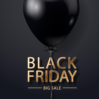 Cartel de venta de viernes negro con globo realista sobre fondo negro. etiqueta de venta de viernes negro. elemento de diseño para pancartas, folletos, tarjetas.