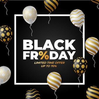 Cartel de venta de viernes negro con globos brillantes blancos, negros y dorados.