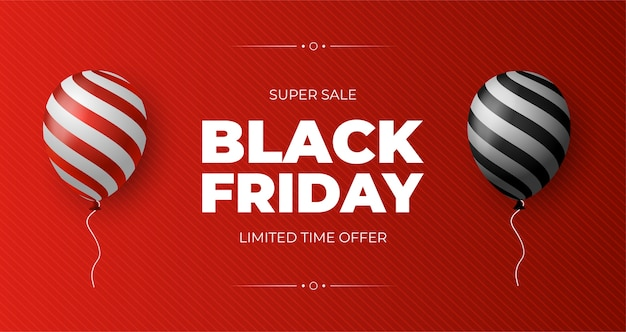 Cartel de venta de viernes negro con globos brillantes sobre fondo rojo.