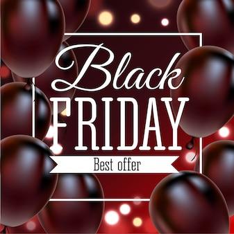 Cartel de venta de viernes negro con globos brillantes Vector Premium