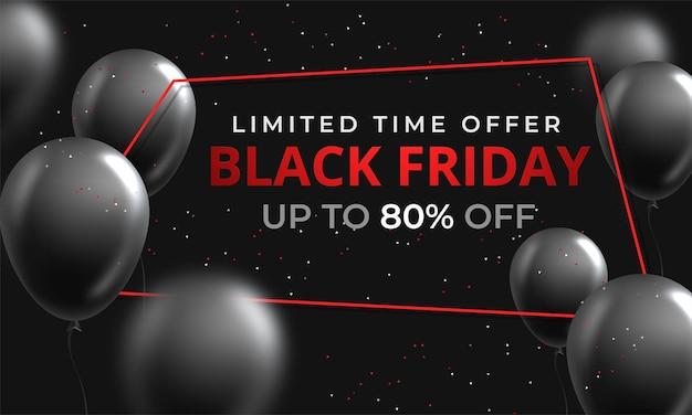 Cartel de venta de viernes negro con globos brillantes