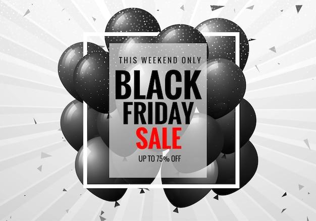 Cartel de venta de viernes negro con globos y confeti
