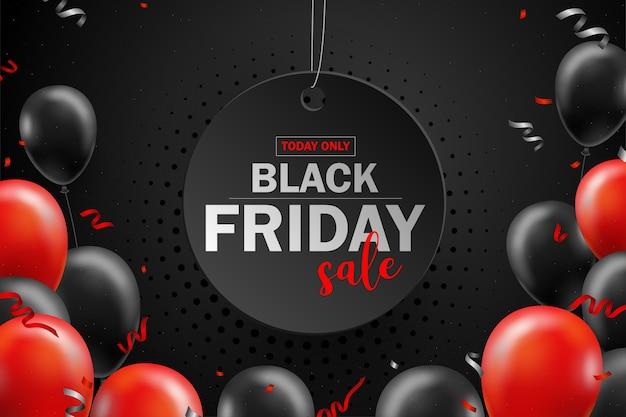Cartel de venta de viernes negro con globos negros para el estilo de promoción de venta minorista, compras o viernes negro