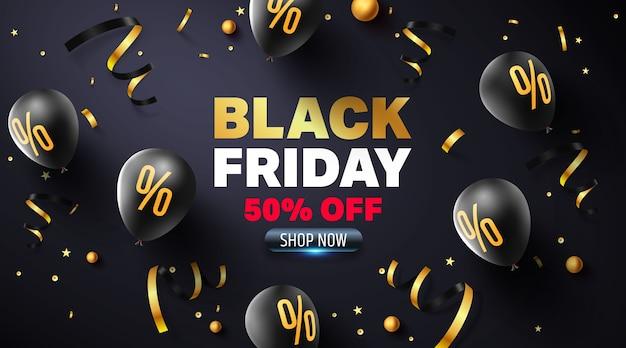 Cartel de venta de viernes negro con globos negros para venta minorista, compras o promoción de viernes negro en estilo dorado y negro.