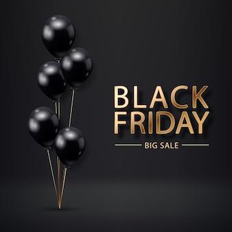 Cartel de venta de viernes negro con globos realistas sobre fondo negro. etiqueta de venta de viernes negro. elemento de diseño para pancartas, folletos, tarjetas.