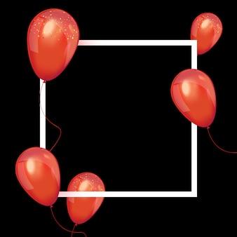 Cartel de venta de viernes negro con globos rojos brillantes.