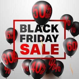 Cartel de venta de viernes negro de globos con signo de porcentaje, signo de descuento y letra mayúscula