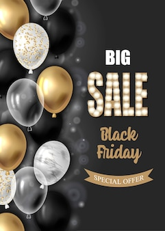 Cartel de venta de viernes negro con globos.