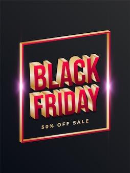 Cartel de venta de viernes negro con marco dorado y texto en 3d