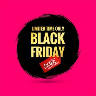 Cartel de venta de viernes negro en un pincel de salpicaduras dibujado a mano