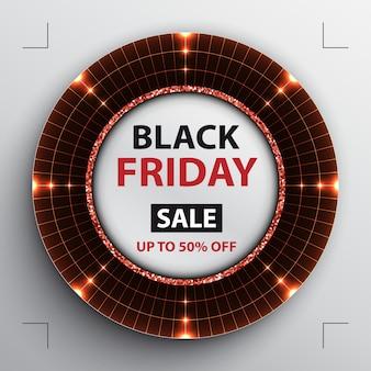 Cartel de venta de viernes negro con radar rojo redondo.