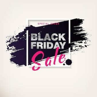 Cartel de venta de viernes negro con texto plateado