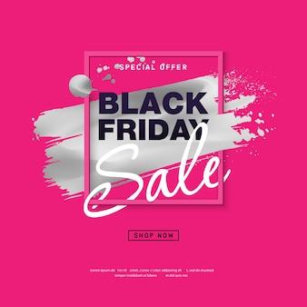 Cartel de venta de viernes negro con trazo de pincel plateado