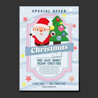 Cartel de ventas de navidad muñeco de nieve y pino de árbol de navidad