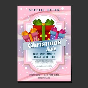 Cartel de ventas de navidad o plantilla de volante con caja de regalo de tema de textura de nieve presente