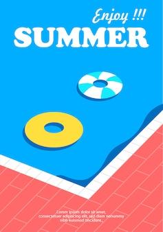 Cartel de verano y banner con fondo de piscina.