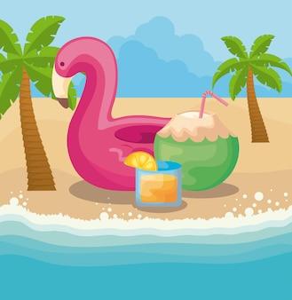 Cartel de verano con carroza flamenca en la playa.