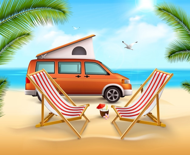 Cartel de verano de color para acampar con vehículo realista en la playa soleada cerca del océano