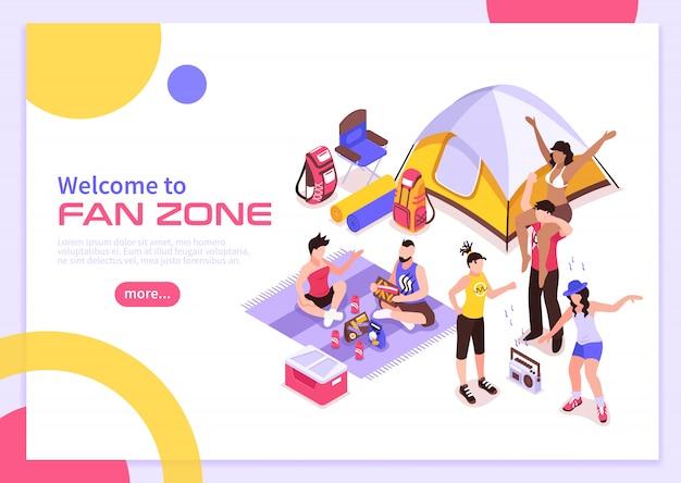 Cartel de verano del festival de música al aire libre con invitación para visitar la zona de fanáticos isométrica
