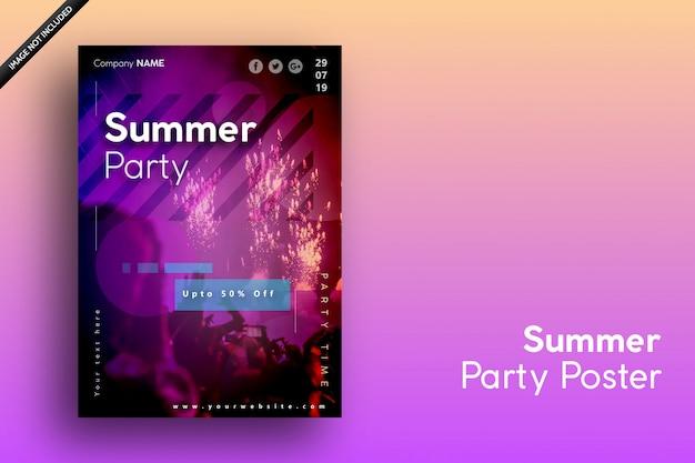 Cartel de verano para fiestas, fiesta y venta.