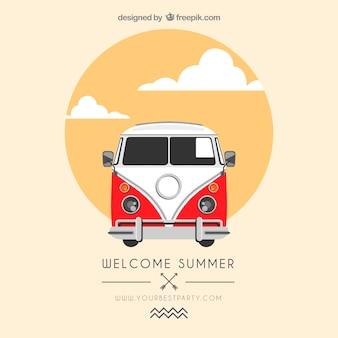 Cartel de verano con una furgoneta