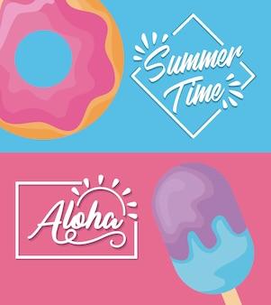 Cartel de verano con helado y donut.