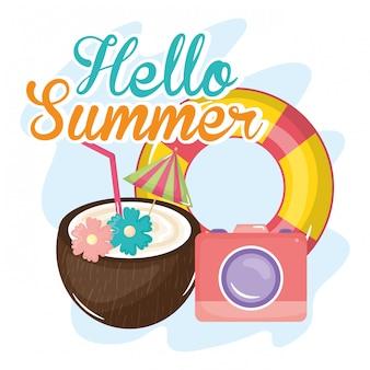 Cartel de verano hellow con iconos de vacaciones