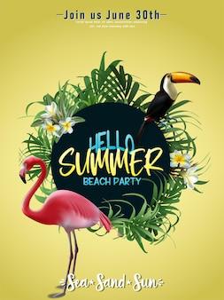Cartel de verano con hojas tropicales y tukan y pájaro flamenco.