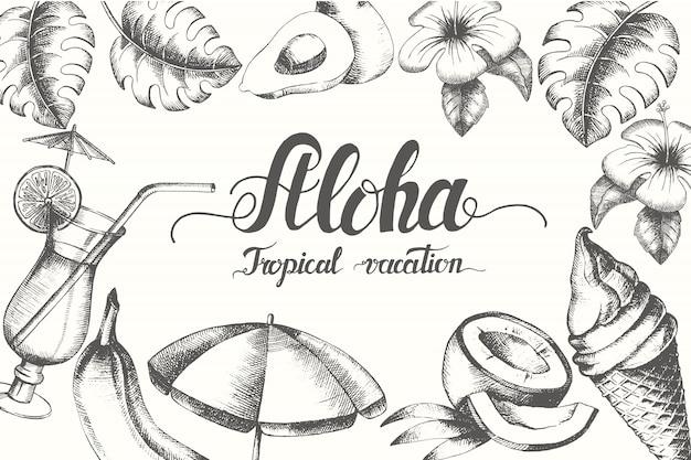 Cartel de verano con mano dibujado doodle objetos de verano.