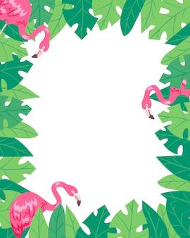 Cartel de verano de marco vertical flamingo