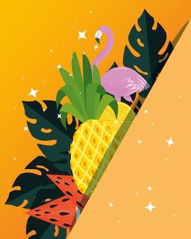 Cartel de verano con piña tropical y flamenca.