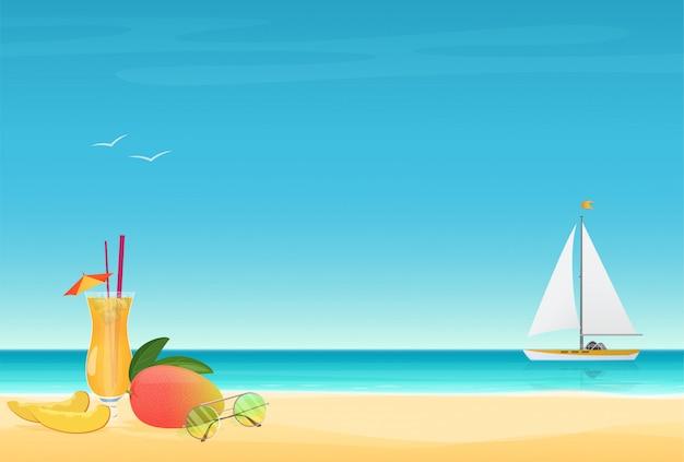 Cartel de verano con yate.