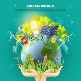 Cartel verde de la composición del concepto de la ecología del mundo
