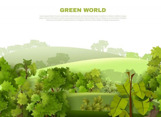 Cartel verde de eco del paisaje ondulado del mundo