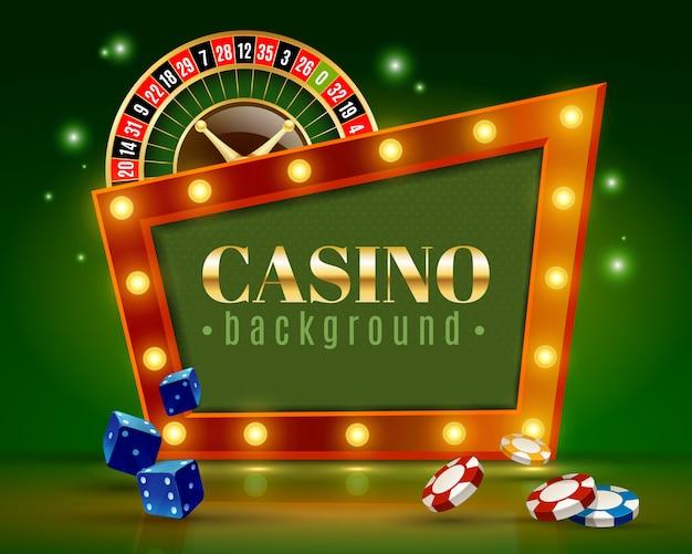 Cartel verde del fondo de las luces festivas del casino