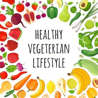 Cartel de verduras y frutas coloridas.