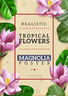 Cartel vertical de flores exóticas realistas.